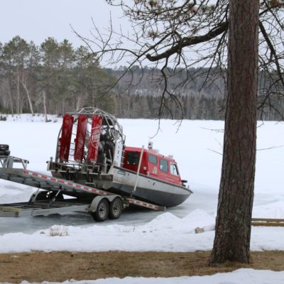 Unloading the Airboat from the Trailer