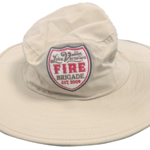 Wide brim hat in tan with drawstring