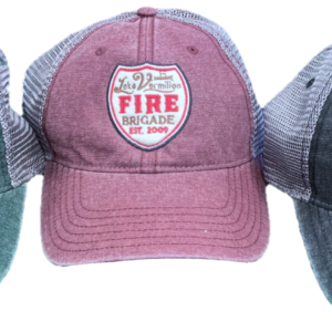 3 mesh baseball caps, green, red, gray from left to right