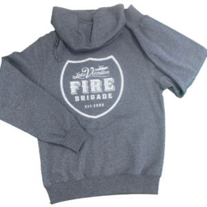 Gray unisex hoodie with screenprinted LVFB logo on back